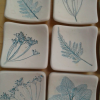 Small Square Dishes with Leaf Impressions (unglazed)